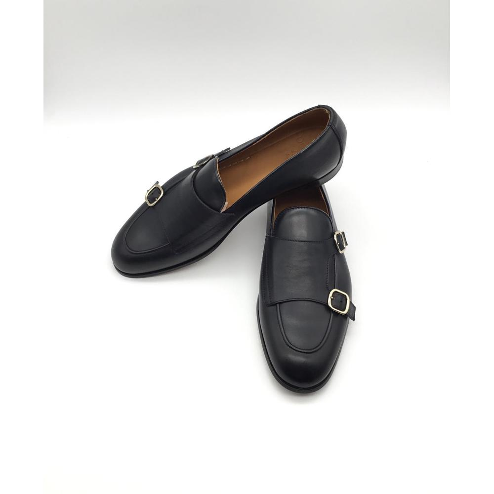 Black DOUBLE LEATHER BUCKLE | Doucals | Loafers | Men's shoes