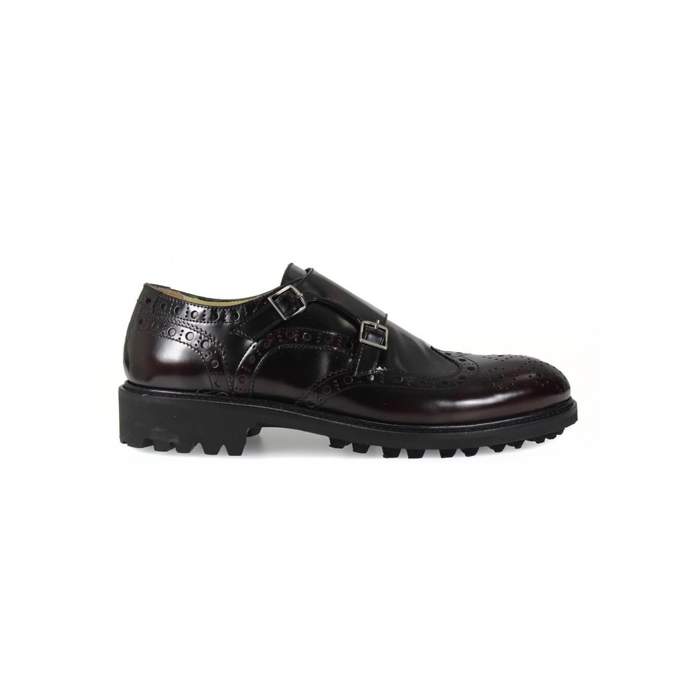 DOUBLE BUCKLE BURGUNDY LACE UP SHOES