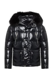 Quilted jacket with fur trim
