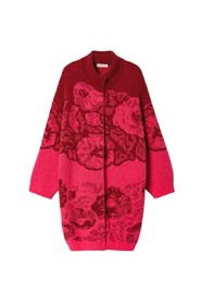 floral jacquard knit coat red with