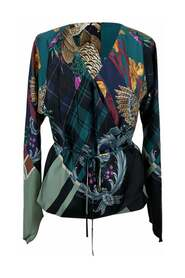 Multicolor Silk Printed Wrap Blouse Size 42 IT