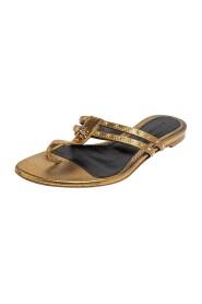 Metallic Gold Leather Embellished Skull Flat Thong Sandals