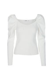 Hvit Na-Kd Light Knitted Puff Sleeve Sweater Genser