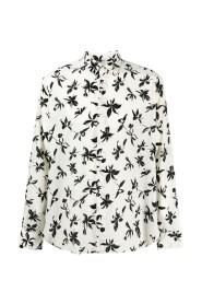 Camicia in Seta Crepe de Chine con Stampa Orchidea Selvatica
