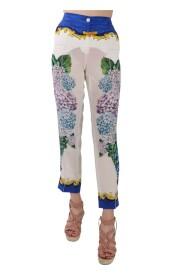Hydrangea Print High Waist Silk Pants
