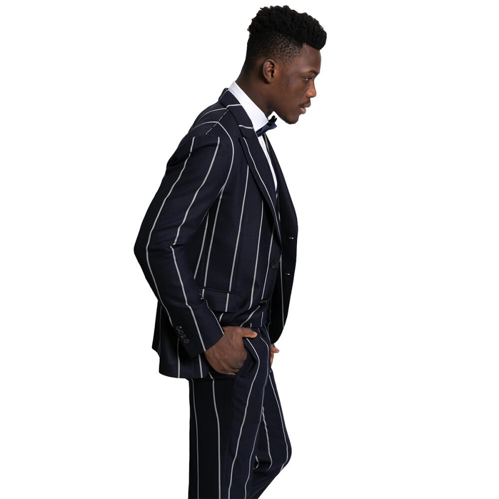 Gabriele Pasini Blue Three-Piece Striped Suit Gabriele Pasini