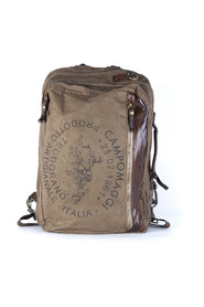 BACKPACK IN CANVAS AND MULTI-POCKET LEATHER