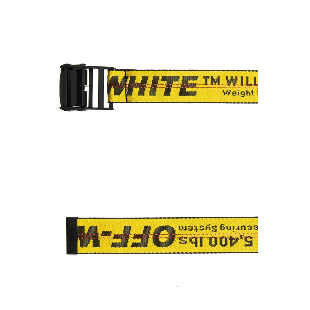 Off White Yellow Branded jacquard belt Off White
