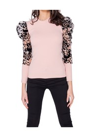 Sheer Flock Print High Neck Top