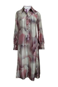 Maxi Silky Long Sleeve Dress With Buttons -Pre Owned Condition Very Good