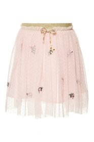 Skirt floral embroidered tulle