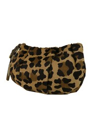 Pre-owned Leopard Print Clutch Bag Natural Material Pony Hair