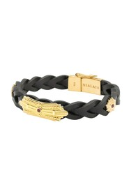 Men's Braided Leather Bracelet with Gold Sterling Silver Detail