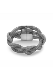 Armband in edelstaal, brede vlecht 19 cm