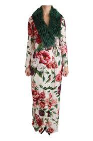 Floral Shift Fur Coat Silk Dress