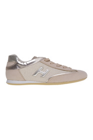 Olympia sneaker in nubuck and laminated fabric