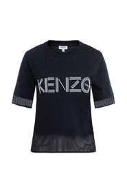 Logo cotton T-shirt with mesh insert