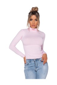 Rib Knit Polo Neck Long Sleeve