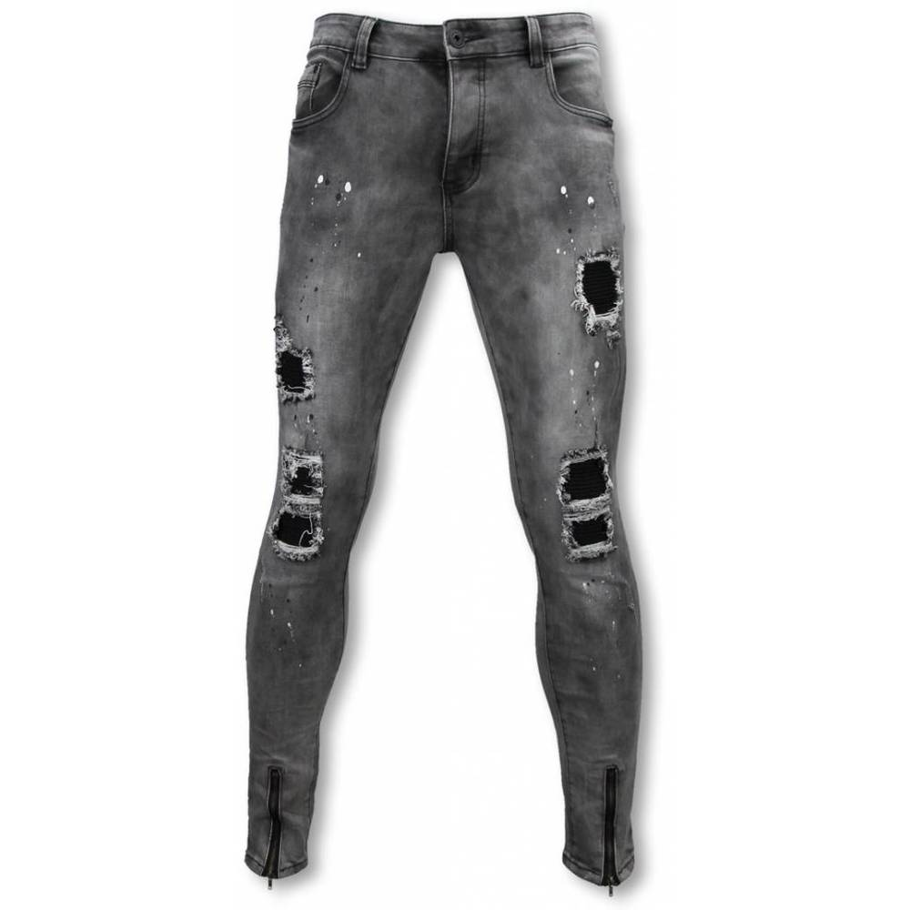 Slim Fit Damaged Jeans With Paint Drops