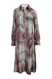 Maxi Silky Long Sleeve Dress With Buttons