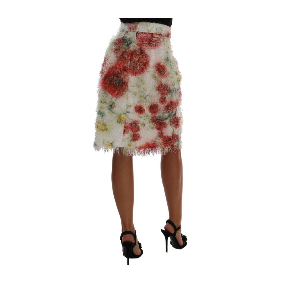 Dolce & Gabbana White Floral Patterned Pencil Straight Skirt Dolce & Gabbana