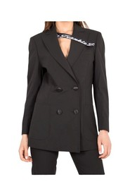 Double-breasted jacket with elastic