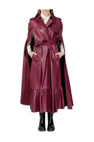 LEATHER TRENCH-LIKE CAPE
