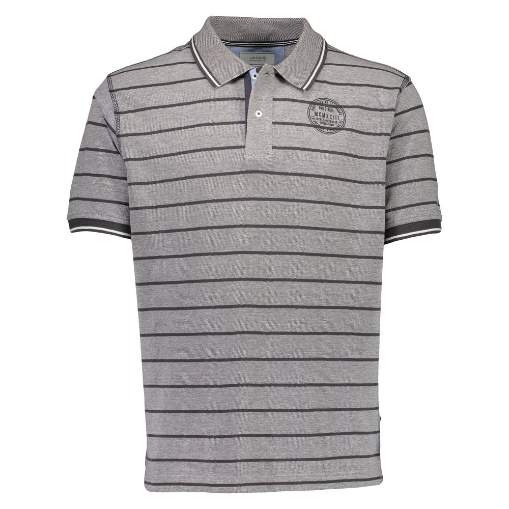 Striped birdseye polo piqué