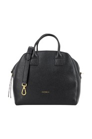 Handbag in black hammered leather