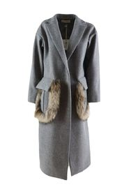 women's long coat with fur inserts