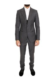 Polka Dotted Slim Fit 3 Piece Suit