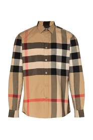 Stretch shirt with tartan motif