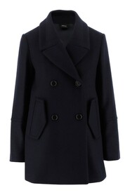 Coat Double breasted closure with buttons Two side pockets with flap Long sleeves