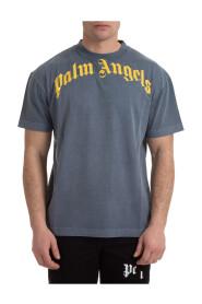 Kurzarm T-Shirt Rundhalsausschnitt Pullover gebogenes Logo Vintage Wash