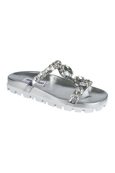 Miu Miu Silver Miu Miu Sandals Sandalen - Grijs