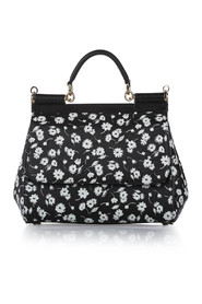 Dauphine Floral Print Leather Satchel