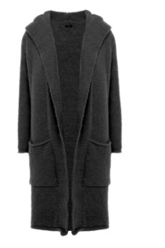 Longline hooded cardigan with side pockets