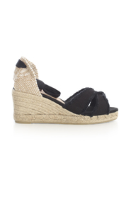 CANVAS CROSSED ESPADRILLES W/LACE ON ANKLE