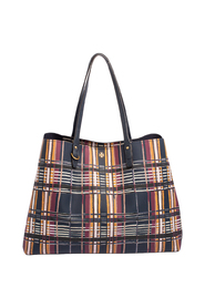 Philly Plaid PVC And Leather Kerrington Large Tote