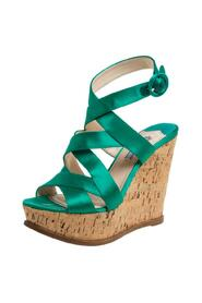 Pre-owned Criss Cross Cork Wedge Sandals