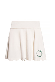 Skirt-overlay trousers with logo