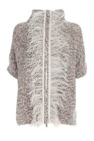 ZIP CARDIGAN WITH FEATHERS