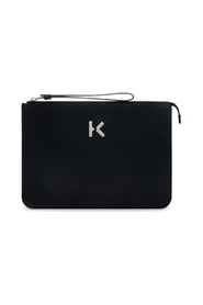 Leather clutch with logo
