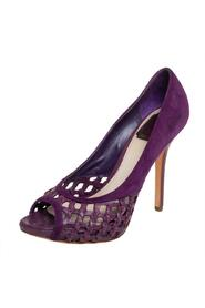 Pre-owned Woven Leather And Suede Peep Toe Platform Pumps