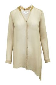 Beige Long Shirt with Raw Hem and Leather Trim