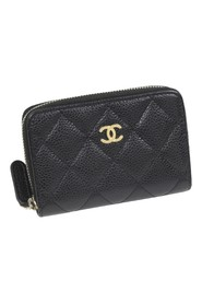 Caviar Zip Around Leather Small Wallet