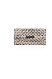 EMPORIO ARMANI BEIGE BROWN FLAP WALLET