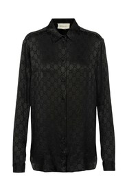 silk shirt with logo prints