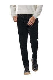 SLIM RIBBED VELVET TROUSERS