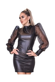 Avery Organza Puffed Sleeve Leatherette Dress